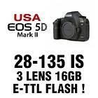New USA Canon EOS 5D Body + 28 135 + 50mm + 24GB Digital SLR FLASH KIT