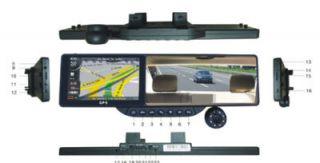 HD 5 GPS Navigation AV in bluetooth Car Rear Mirror DVR Camera