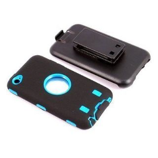 Apple iPod Touch 4th Gen 4g Blue Black Defender Jogging Case + Belt