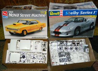 Lot/2 New MODEL CAR KITS 1/25 AMT 1966 NOVA STREET MACHINE & REVELL
