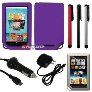 Bundle Combo Skin Case Car Wall Charger Stylus For Nook Tablet/Color