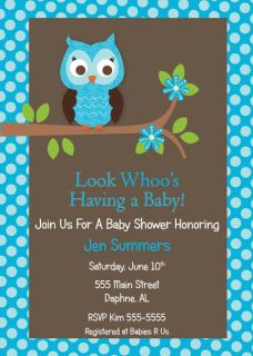 PRINTABLE PRINTED OWL BOY BABY SHOWER INVITATION BIRTHDAY ANNIVERSARY