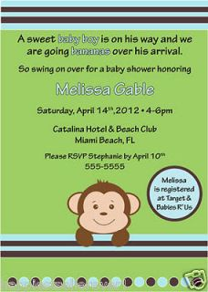 Printable Baby Shower invitation Boy Monkey Personalize