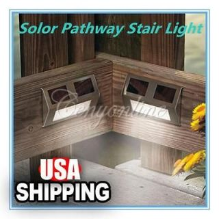 Solar Power Steel LED Light Pathway Deck Path Step Stairs Wall Garden