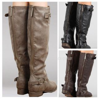 New Womens Knee High Riding Boots Zipper & Buckle Strap Fashion Tan