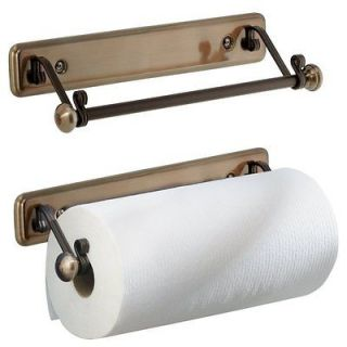 Wall Mount Cabinet Paper Towel Holder Bronze Finish Easy Kitchen Home