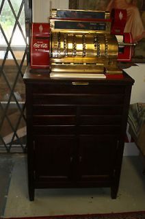 Antique Vintage Brass National Cash Register Large Floor Model Coca