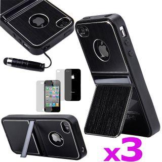 3PCS Black Aluminum TPU Hard Case Cover W/Chrome Stand For iPhone 4 4S