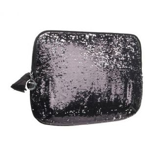 COUTURE BLACK SEQUIN GLITTER COMPUTER LAPTOP SLEEVE CASE BAG WALLET