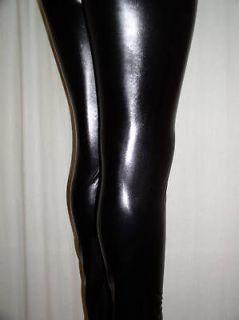BLACK Faux Leather Rave Club METALLIC Pants LEGGINGS   L fits 8 10 12