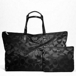 Black Signature Large Weekender Gym Bag Travel Tote Luggage Gift 77316