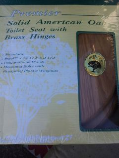 New Solid American Standard Wood Toilet Seat w/ Brass Hinges Oak 17