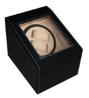 BLACK LEATHER WATCH WINDER STORAGE DISPLAY CASE BOX AUTOMATIC