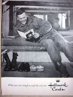 1956 HALLMARK Cards Military Soldier Reading Card on Bunk Bed Ad