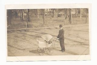 Photo Older Man with Baby Carriage Derby Pram Horse Hitching Posts