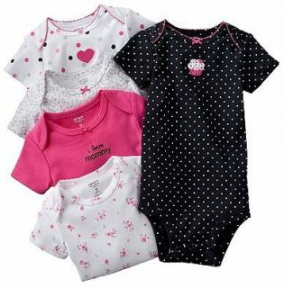 NWT Carters Baby Girl Clothes 5 Bodysuits Blue Pink Print 3 6 9 12 18