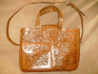New Handmade Tooled Leather Brown Shoulder Bag Purse