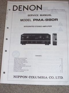 Denon Service/Operation Manual~PMA 980R Amplifier Amp