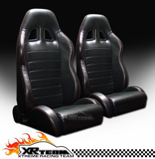 & Red Stitch Racing Bucket Seats+Sliders 30 (Fits Renault Encore