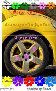 VW bug beetle hubcap pink flowers tire wheel car 12set