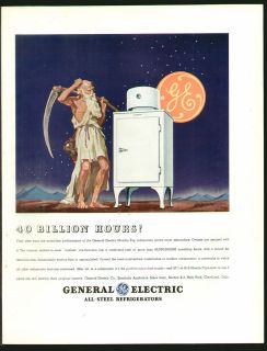 General Electric GE 1935 MONITOR TOP REFRIGERATOR Original Print Ad