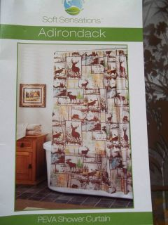 EXCELL VINYL SHOWER CURTAIN ADIRONDACK BROWN DEER/MOOSE/CAB​IN/WOODS