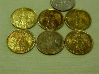 Guardian Angel Goldtone Pocket Protector Coin Religious Lot of 6