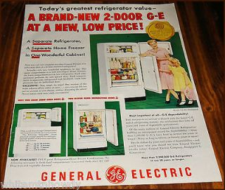 1950 GE NJ 8G REFRIGERATOR AD Mid Century Retro Kitchen~Mother