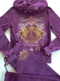 Juicy Couture Purple Velour Scotty Crest Tracksuit Hoodie Pants S