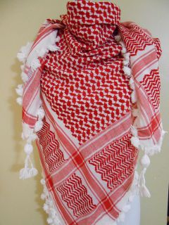 Thick Red Arab Shemagh Head Scarf Neck Wrap Authentic Cottton