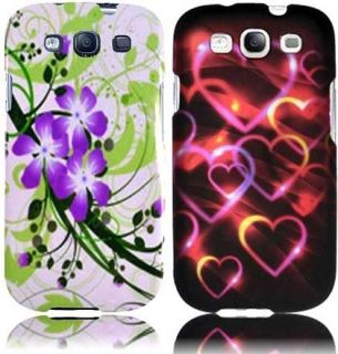 Purple Lily+Colorful Hearts Design Hard Case Covers for Samsung Galaxy