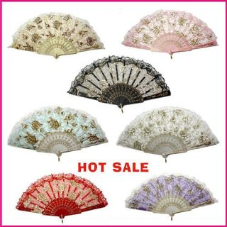Embroidered folding Hand Fan lace cloth fans w/ golden roses 7 color