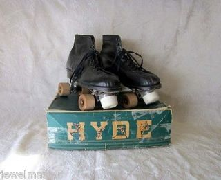 Hyde Roller Skates Antique Black Leather Wood Wheel Chicago Sz 9 1/2