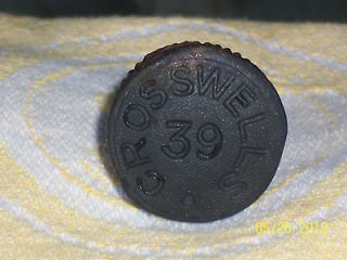 Antique STONEWARE GINGER BEER BOTTLE STOPPER TOP: CROSSWELLS 39