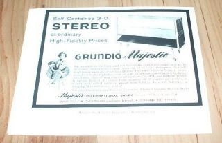 Grundig Majestic self contained stereo 1959 magazine advert