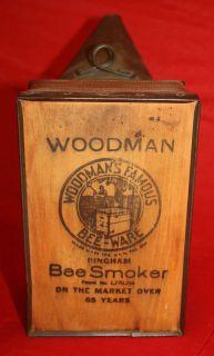 WOODMAN BEE KEEPER Leather Wood Tin BINGHAM SMOKER Antique Farm Tool