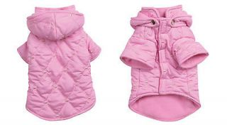 XX SMALL teacup yorkie poodle PINK QUILTED DOG COAT hooded clothes