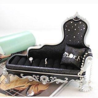 Chaise Lounge Chair Ring Holder Black Metallic Leopard Print Animal