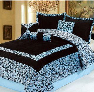 7PC NEW Blue Faux Fur Zebra Animal Print Comforter Set **KING **