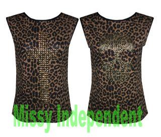 New Womens Ladies Animal Print Cross and Skull Stud Vest T Shirt Tank