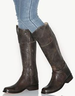 Steve Madden Brown Distressed Leather Knee High Riding Boots Size 10