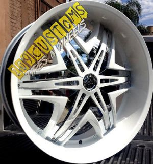 24 24 INCH RIMS WHEELS TIRES DIABLO ELITE WHITE CHROME INSERTS