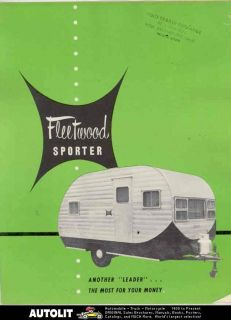 Fleetwood Model 12 & 15 Sporter Travel Trailer Brochure Paramount CA