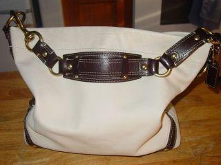 Beautiful White Coach Leather Carly Handbag   Extra Large