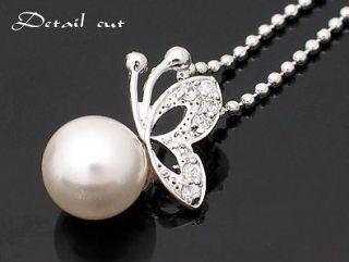 Silver Chain Alloy Pearl Ivory Butterfly Necklace