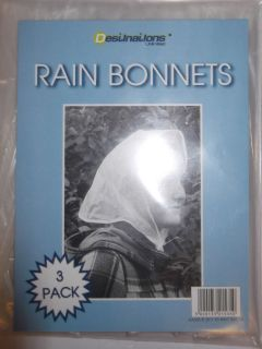 PK OF 3 WATERPROOF CLEAR RAIN BONNETS EMERGENCY RAIN HATS