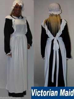 Traditional Edwardian Victorian Maid Pinafore, Dress and Hat Fancy