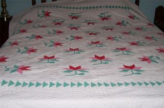 Vintage Large Hand Stitched Applique Quilt w/ Red Pink & Green Flowers