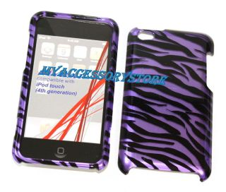 iPod Touch 4 4th GEN Purple Zebra Print Snap On Protector Hard Shield