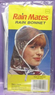 VINTAGE RAIN BONNET RAIN MATES CLEAR RAIN HAT